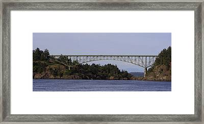 Deception Pass Brige Pano Framed Print by Mary Gaines