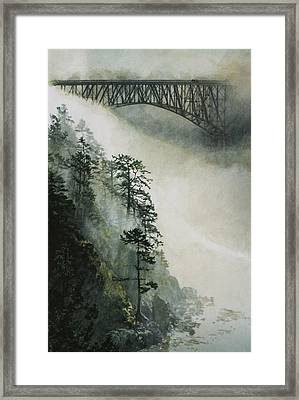 Deception Pass Fog Framed Print