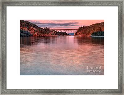 Deception Pass Pink Skies Framed Print