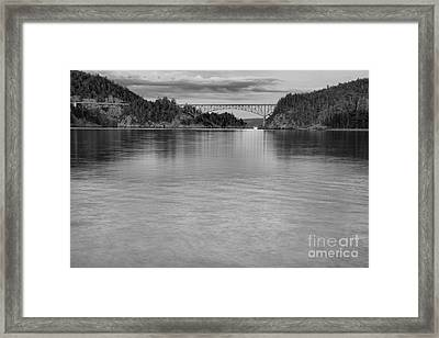 Deception Pass Sunset Black And White Framed Print