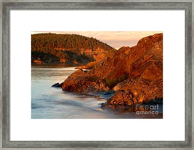 Deception Pass Sunset Glow Framed Print