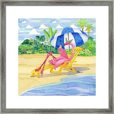 Deck Chair Flamingo Framed Print
