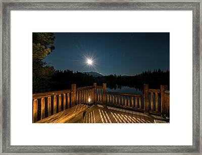 Deck Under Moonlight Framed Print by Michael J Bauer