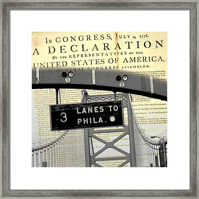 Declaration Of Independence Ben Franklin Bridge Framed Print