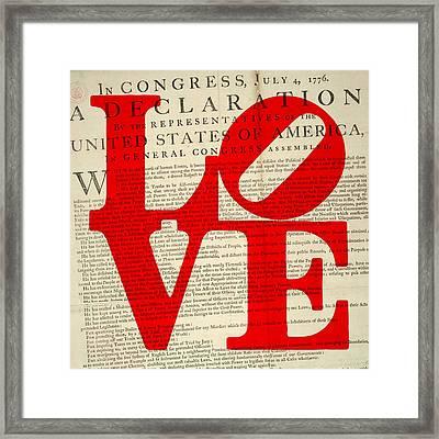 Declaration Of Independence Love Framed Print by Brandi Fitzgerald