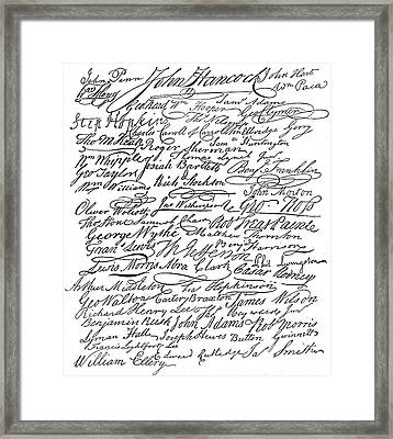 Declaration Of Independence Signatures Of The Founding Fathers Framed Print