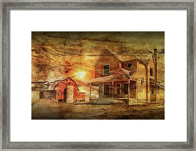 Decline Of The Small Farm With Wrinkled Paper Framed Print