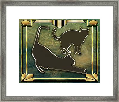 Deco Cat Stretching Framed Print