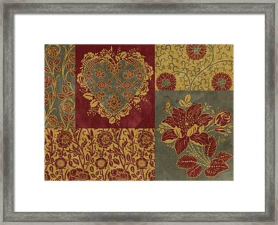 Deco Heart Earthtones Framed Print