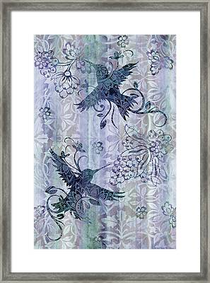 Deco Hummingbird Blue Framed Print