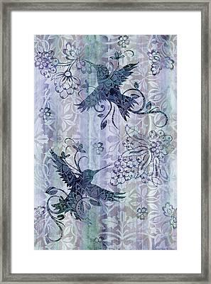 Deco Hummingbird Blue Framed Print by JQ Licensing