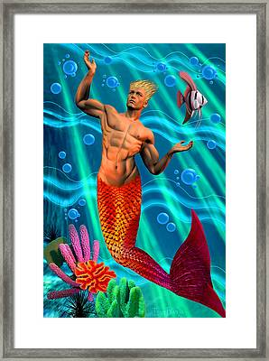 Deco Merman 2 Framed Print