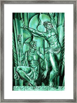 Deco Olympus Patina Framed Print