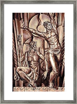 Deco Olympus Tri-tone Framed Print