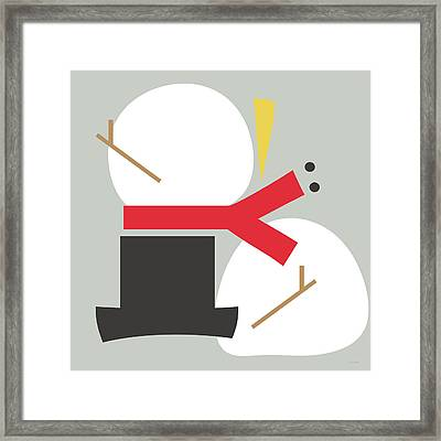 Deconstructed Snowman- Modern Art By Linda Woods Framed Print