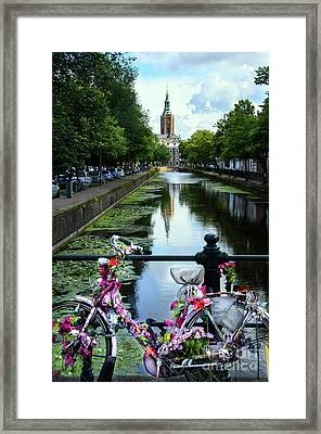 Framed Print featuring the photograph Canal And Decorated Bike In The Hague by RicardMN Photography