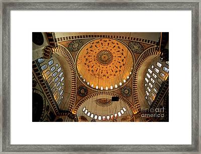 Decorated Dome And Windows Inside The Suleymaniye Mosque In Istanbul Framed Print by Sami Sarkis