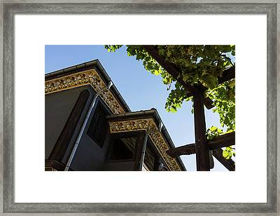Decorated Eaves And Grapes Trellis - Old Town Plovdiv Bulgaria Framed Print by Georgia Mizuleva