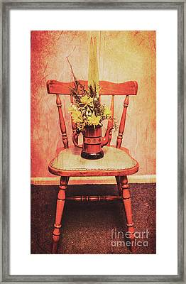 Decorated Flower Bunch On Old Wooden Chair Framed Print