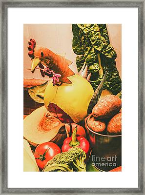 Decorated Organic Vegetables Framed Print