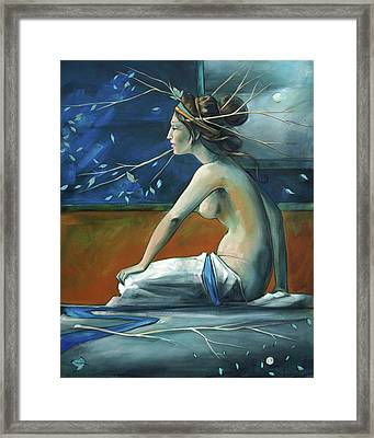 Decorative Blue Nymph Framed Print