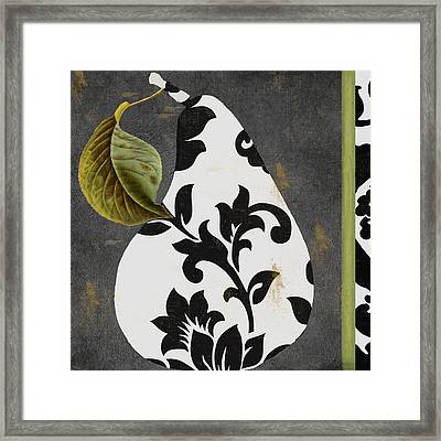 Decorative Damask Pear I Framed Print by Mindy Sommers
