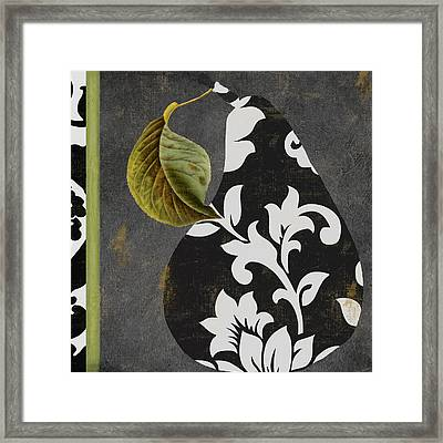 Decorative Damask Pear II Framed Print by Mindy Sommers