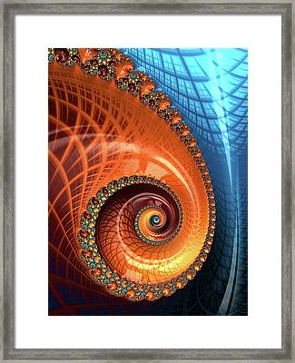 Framed Print featuring the digital art Decorative Fractal Spiral Orange Coral Blue by Matthias Hauser
