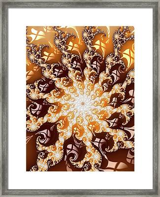 Decorative Luxe Fractal Art Golden And Brown Framed Print