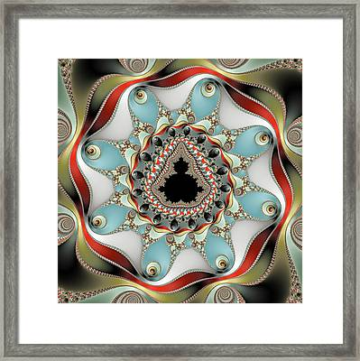 Decorative Mandelbrot Fractal Red Blue Olive Framed Print by Matthias Hauser