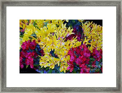 Decorative Mixed Media Floral A3117 Framed Print by Mas Art Studio