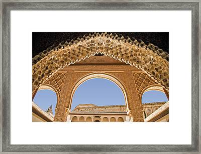 Decorative Moorish Architecture In The Nasrid Palaces At The Alhambra Granada Spain Framed Print by Mal Bray
