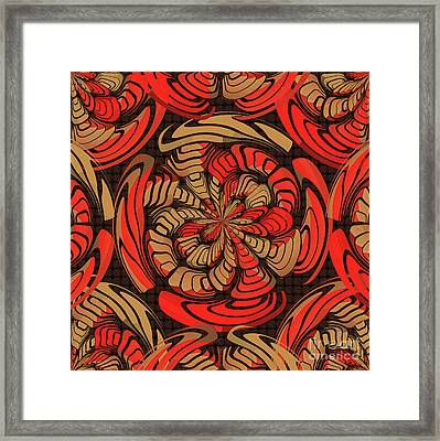 Decorative Red And Brown Framed Print by Gaspar Avila