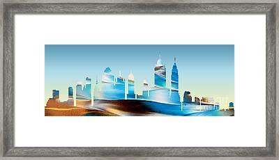 Decorative Skyline Abstract New York P1015b Framed Print