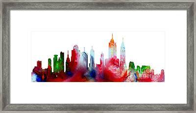 Decorative Skyline Abstract New York P1015c Framed Print