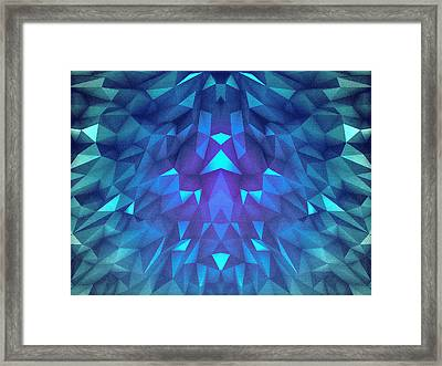 Deep Blue Collosal Low Poly Triangle Pattern  Modern Abstract Cubism  Design Framed Print
