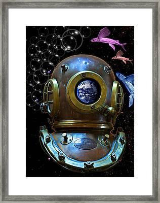 Deep Diver In Delirium Of Blue Dreams Framed Print by Pedro Cardona
