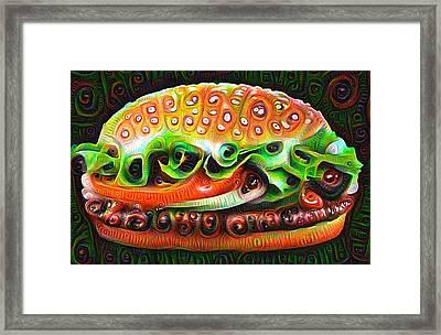 Deep Dream Burger Framed Print by Matthias Hauser