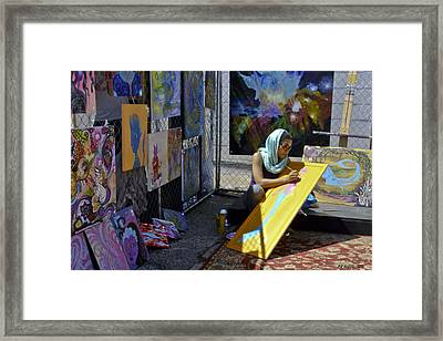 Deep Elum - Artist At Work  Framed Print