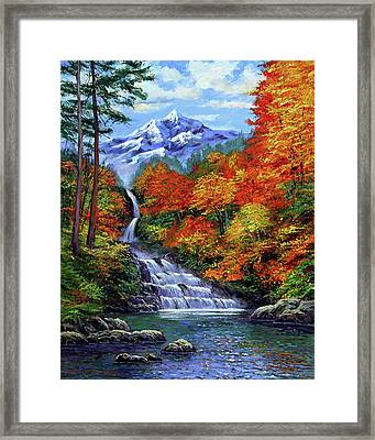 Deep Falls In Autumn Framed Print by David Lloyd Glover