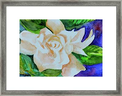 Framed Print featuring the painting Deep Gardenia by Beverley Harper Tinsley