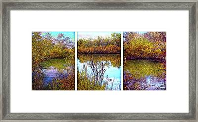 Deep Lake Reflections - Triptych Framed Print