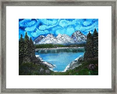 Deep Mountain Lake Framed Print by Valerie Ornstein