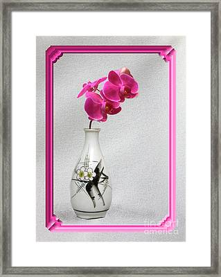 Framed Print featuring the photograph Deep Pink  Orchids by Linda Phelps