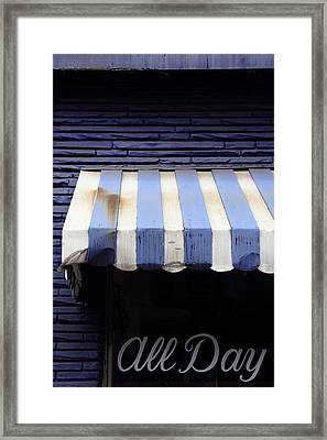 Deep Purple And Awning Framed Print by Kreddible Trout