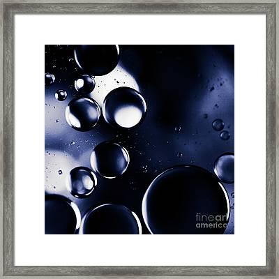 Framed Print featuring the photograph deep purple blue tones Macro Water Droplets by Sharon Mau