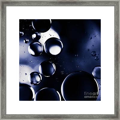 deep purple blue tones Macro Water Droplets Framed Print by Sharon Mau