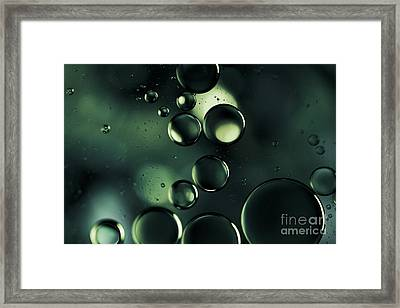 Deep Sapphire Blue And Emerald Green Macro Water Droplets Framed Print by Sharon Mau