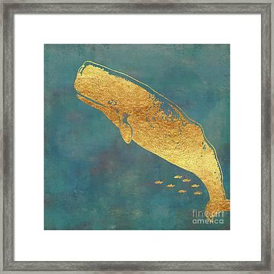 Deep Sea Life II Golden Whale, Ocean Texture Framed Print by Tina Lavoie