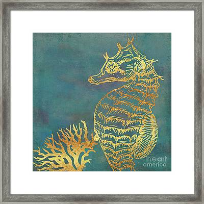 Deep Sea Life V Golden Seahorse, Ocean Texture Framed Print by Tina Lavoie